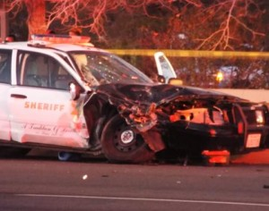 The patrol car struck the left side of the Ford Explorer, which caused the Explorer to spin out of control. (LUIS MEZA)
