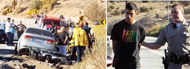 The fatal crash happened around 3:10 p.m., Saturday, Oct. 19 on Elizabeth Lake Road, just east of Godde Hill Road. Jose Gutierrez was arrested at the scene. (Photos courtesy LUIS MEZA)