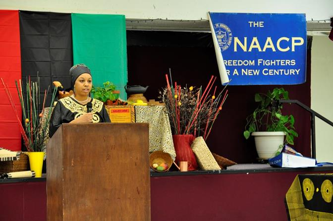 During the three-hour celebration, many young community leaders and scholars reflected on the seven principles Kwanzaa. Community activist Veronica Fields spoke about Kujichagulia (Self-Determination).