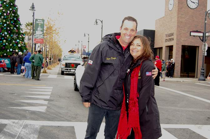 State Senator Steve Knight and wife, Lily, braved the cold winds to walk a portion of the parade route.
