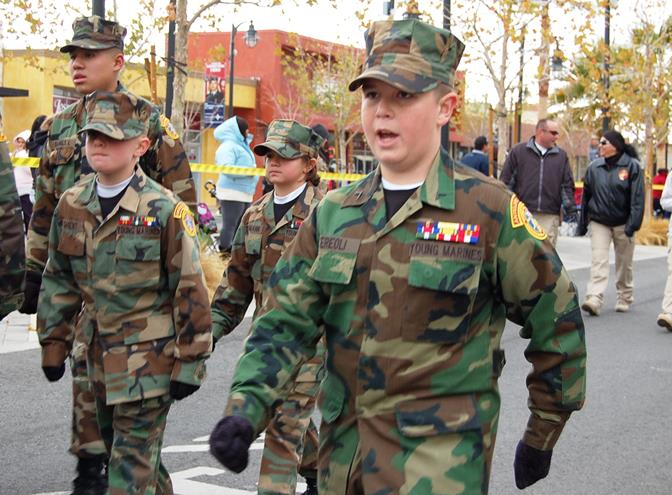 """The parade kicked off with the Antelope Valley Young Marines. """"LEFT….LEFT…. LEFT, RIGHT!"""""""