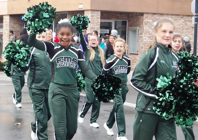 The Endeavour Middle School Ravens Cheerleaders had warm smiles, despite the cold weather.