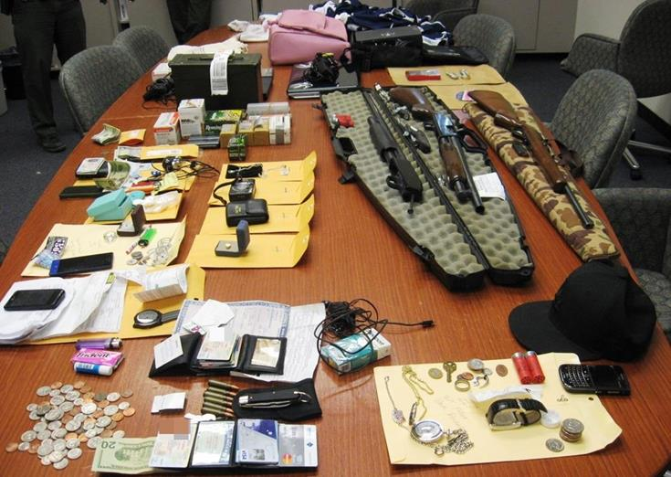 Deputies recovered two shot guns, one rifle, approximately 200 rounds of ammunition, sports apparel, electronic equipment, and other miscellaneous stolen items. (Photo courtesy LASD)