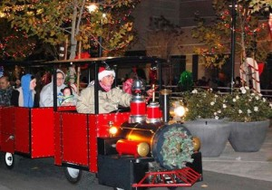 Partiers rode the Holiday Train through the festive streets.