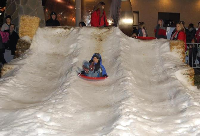 At one juncture, kids were sledding down a manmade hill of ice.