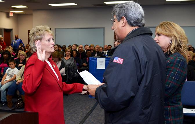 New Board member Nancy Smith will serve as Clerk for the Palmdale School Board. (Photo by Tom Llewellyn)