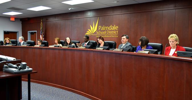(From right) Nancy Smith,, Joyce Ricks and Juan Carillo take their seats on the Palmdale School Board Dec. 10.