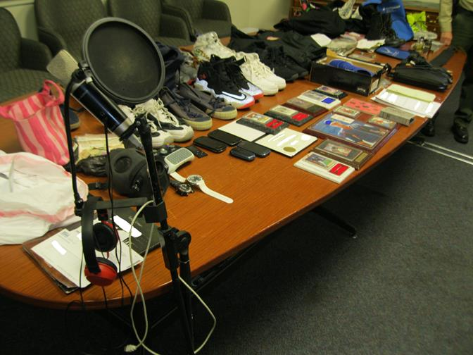 The Lancaster Burglary Suppression Team recovered these items Thursday morning from a Gadsden Avenue apartment. The items are believed to have been stolen during a string of Lancaster home burglaries. (Photo courtesy LASD)