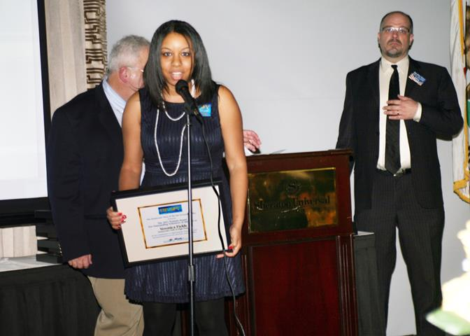Veronica Fields speaks at the annual Truman Awards ceremony, where she was awarded Outstanding Volunteer of the Year, as well as several other accolades.