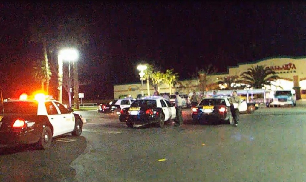 The police pursuit ended in the Vallarta Supermarket parking lot near Palmdale Boulevard and 5th Street East. (Photo by JOHN MEZA)