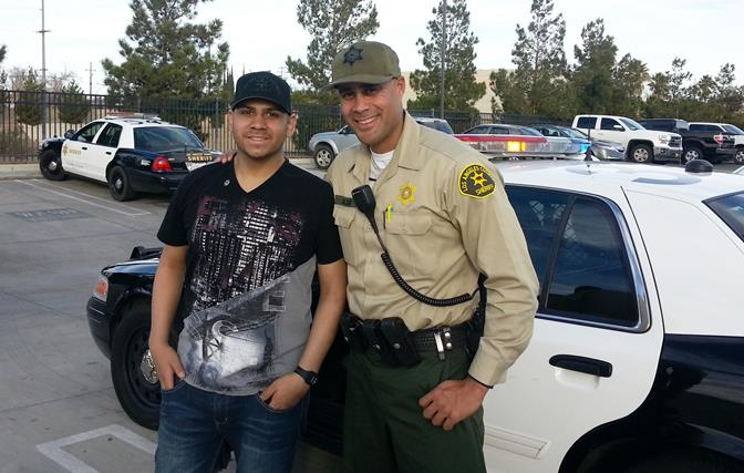 Allan Gonzales (left) shares a moment with deputy Murray Jacob. (Photo courtesy LASD)
