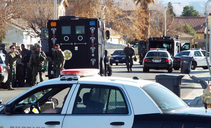 The call came in around 6:38 a.m., Friday, Jan. 17, from a home in the 37700 block of Christensen Court in Palmdale. (Photo by LUIS MEZA)