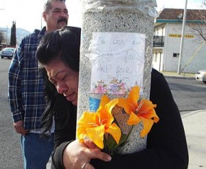 Devastated family members gathered at the crash site last month to mourn the victims. (LUIS MEZA)