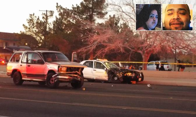 Sara Paynter and Robert Delgadillo (inset) were killed on Dec. 14 when the SUV they were riding in collided with a patrol car in a Palmdale intersection. The deputy behind the wheel has been identified as Kamal Jannah of the Palmdale Sheriff's Station. (Photo by LUIS MEZA)