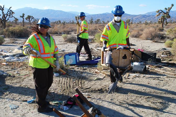 Members of the California Conservation Corps participated in a desert clean up in September.