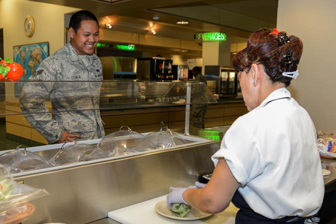 The Joshua Tree Dining Facility serves those on base who do not receive a basic allowance for subsistence, primarily those unaccompanied Airmen living in the dorms on base. (U.S. Air Force photo by Rebecca Amber)