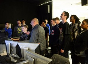 While at 412th EWG, each student was given two minutes to fly the F-16 simulator at the Integration Facility for Avionics Systems Test. (Rebecca Amber)