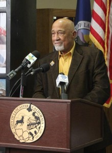 Lancaster Mayor Emeritus Henry Hearns speaks at a press conference Thursday to announce this year's MLK Day of Service activities.