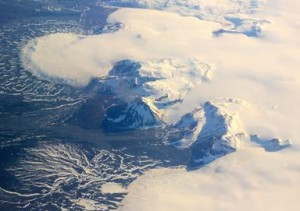 This photo shows a small part of the Hofsjökull ice cap in Iceland, which encompasses several glaciers. The fan at upper left is part of a glacier called Múlajökull. (NASA / JPL / Caltech)