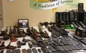 Deputies seized handguns, shotguns, pistols, revolvers, and a World War II vintage German machine gun. (LASD)