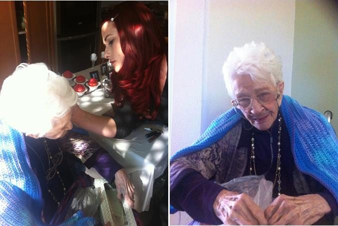 Makeup artist Tiffany Derosier applies makeup to 101-year-old Margaret Rullo (left). The centenarian was all smiles after her  beauty makeover (right).