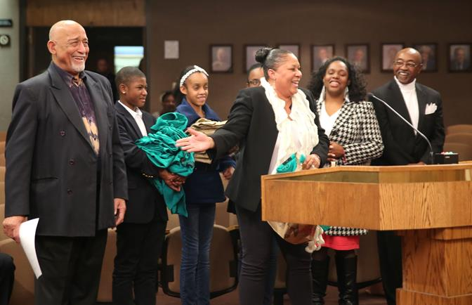 A a recent council meeting, Bishop Henry W. Hearns and Gwendolyn Cole thanked Lancaster for embracing NAFJ's Pen or Pencil movement, and three students from the mentoring program presented the Council with t-shirts that were worn during their Aug. 28th march in Washington D.C. (Contributed photo)