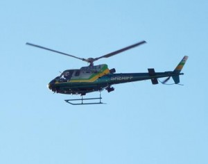 A Sheriff's helicopter hovered overhead. (JOHN MEZA)