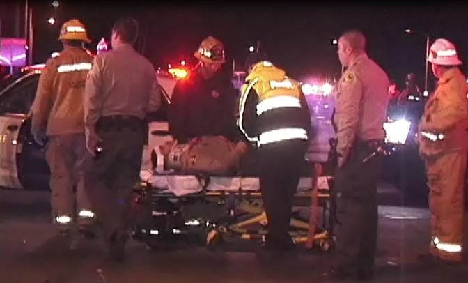 The deputy, whose name was not released, was transported to the hospital with minor injuries.  (Photo by ED FROMMER)