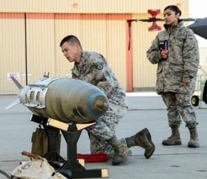 Staff Sgt. Kyle Lane prepares to load a GBU-32 JDAM on an F-35 during the Annual Weapons Load Competition Feb. 3. (Rebecca Amber)