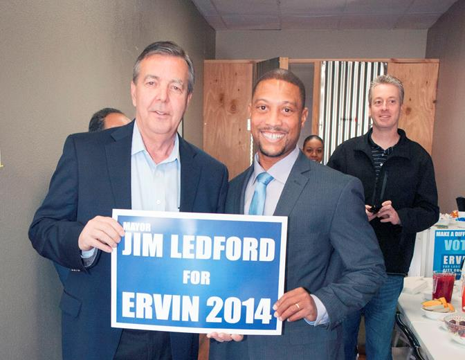 Palmdale Mayor Jim Ledford (left) said he endorsed Ervin because Ervin was committed to repairing relationships between Lancaster and Palmdale. (Simac Production Studios)