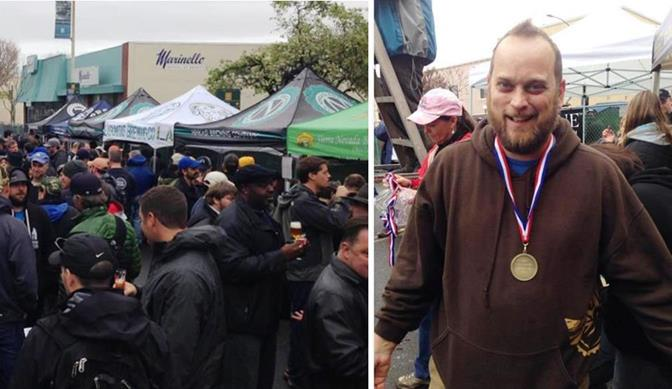 The 14th annual Double IPA Festival was held Feb. 8 in Hayward (left). Steve Kinsey, brewmaster and co-owner of Kinetic Brewing Company, celebrates his first place finish (right). (Photos courtesy Steve Kinsey)