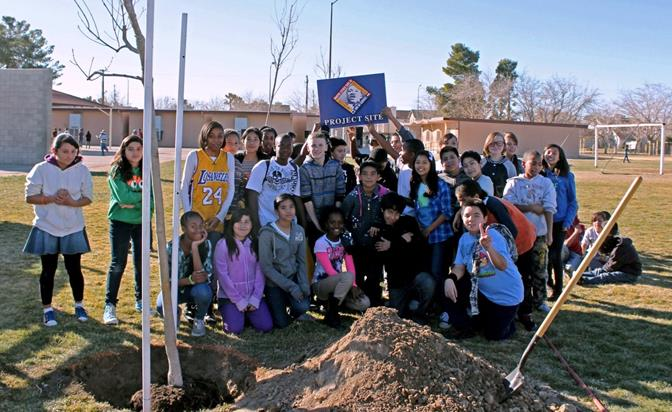 Volunteers planted trees at Mariposa Elementary School for the seventh annual Martin Luther King Jr. Day of Service.