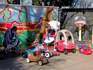 About a dozen volunteers participated in the El Dorado Park Preschool Playground Improvement Project.