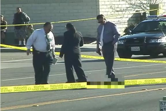 Around 4:30 a.m. Sunday, Feb. 16, a passing motorist discovered the body in the middle of the street at the intersection of 57th Street East and Avenue S in Palmdale, authorities said. (ED FROMMER)