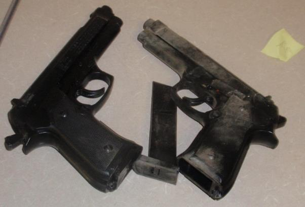 Deputies recovered $937 and two very real-looking replicas of 9mm caliber Berettas.  (Photo courtesy LASD)
