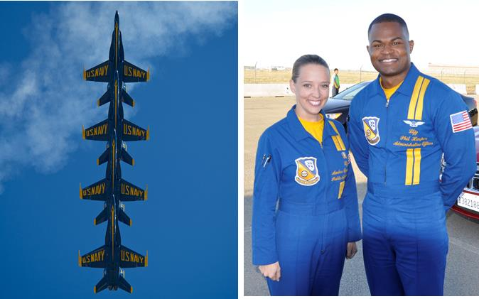 The U.S. Navy Flight Demonstration Squadron, the Blue Angels, will headline the 2014 LA County Air Show at William J. Fox Airfield in Lancaster on Friday and Saturday. Wednesday night, members of the Blue Angels Administrative team attended a welcome reception at Joe Davies Airpark in Palmdale.