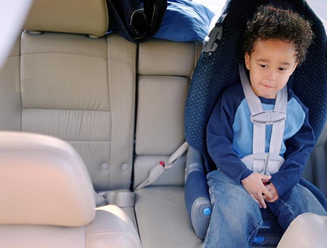 California law requires children, regardless of age, to ride in a safety seat or booster seat if the safety belt doesn't fit properly.