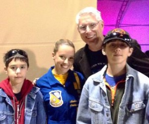 Paul and his family with a Blue Angels team member at the LA County Air Show.