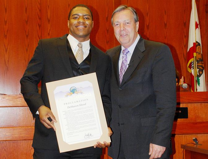 In accepting the proclamation, Shead said he strives to be a person kids can look up to, both on and off the field.