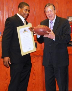 Shead also gifted the city of Palmdale with a signed football.