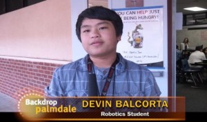 Delvin Balcorta, on the robotics team at The Palmdale Aerospace Academy, is interviewed on Backdrop Palmdale.
