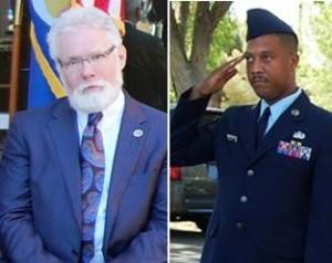 (L to R) Lancaster Mayor R. Rex Parris and Lancaster City Council candidate Johnathon Ervin.