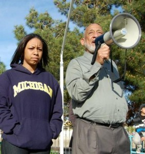 Fields (left) shown at the 2012 march with Bishop Hearns, said Mayor Parris is twisting the details about what actually took place at the Hoodie March.
