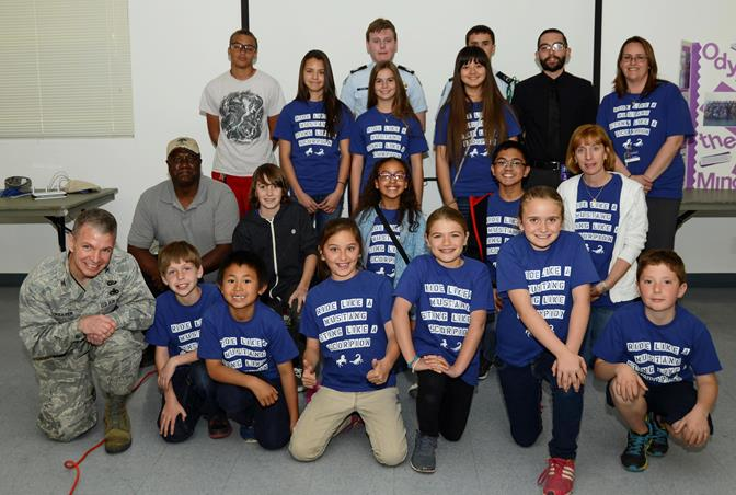 The Desert Junior High and Branch Elementary Odyssey of the Mind teams and Desert Junior High Scorpion Robotics team each received a $500 grant from the International Test and Evaluation Association, Antelope Valley Chapter, March 19. (U.S. Air Force photo by Rebecca Amber)