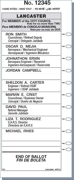 Lancaster election 2014 ballot1