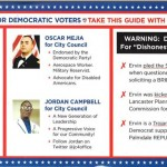 (Click image to view the front and back of the Democratic-themed political mailer.)