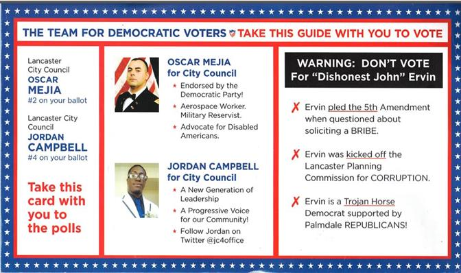 This Democratic-themed political mailer is a fraud, and it was denounced by Oscar Mejia, Jordan Campbell and the Los Angeles County Democratic Party. (Click image to view the front and back of the mailer.)