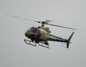 A sheriff's helicopter aided the search, and in the end, one of the suspects was captured. (JOHN MEZA)