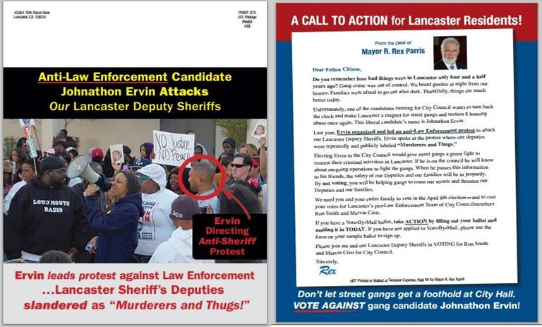 This political mailer, produced by Lancaster Mayor R. Rex Parris, was sent out to thousands of Lancaster voters. (Click image to view a full size version.)