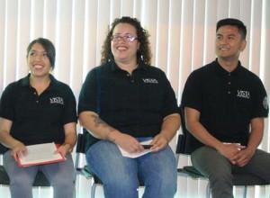 VISTA volunteers  Michelle Barron, Amanda Reyes, and Clyde Villacisneros.